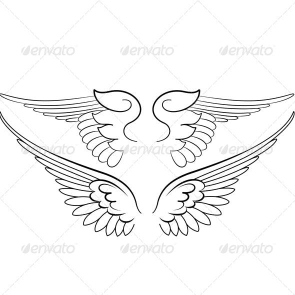 Baroque Wings in Calligraphy Style.
