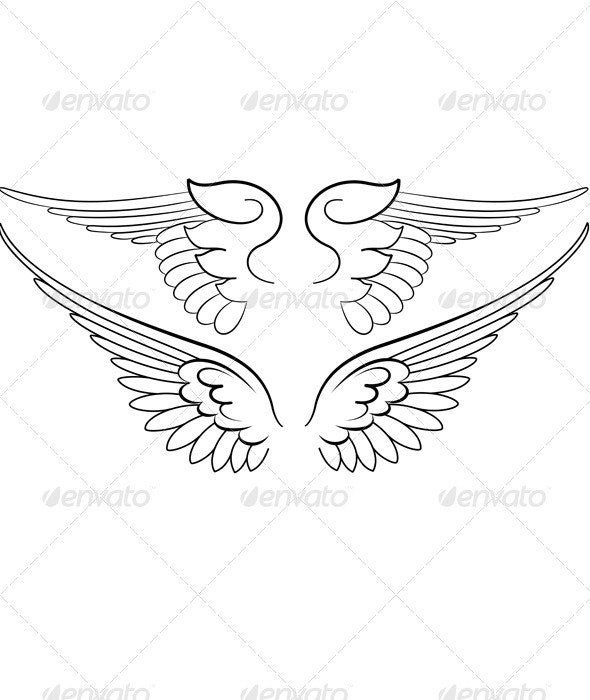 Baroque Wings in Calligraphy Style. - Retro Technology