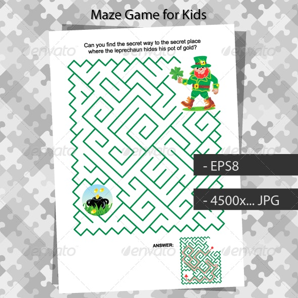 St. Patrick's Day Maze Game for Kids - Seasons/Holidays Conceptual