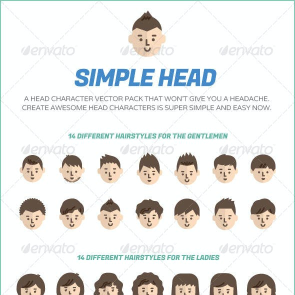 Simple Head -  Character Design Vector Pack