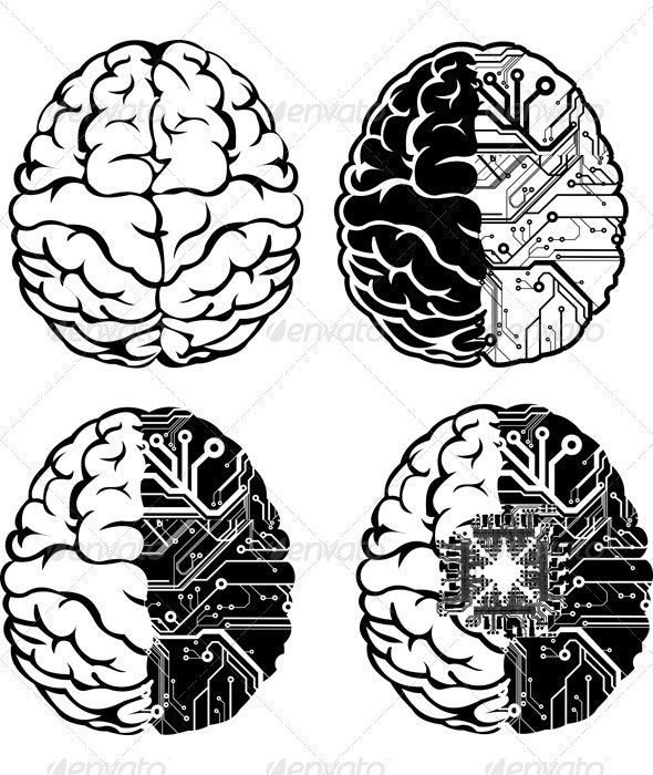 Set Of Four One Color Electronic Brain. - Industries Business