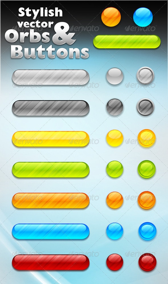 Stylish Vector Orbs And Buttons - Web Elements Vectors