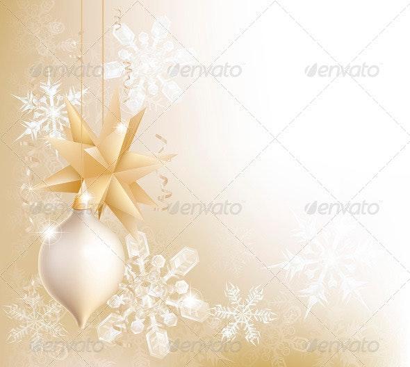 Gold Snowflake and Christmas Bauble Background - Christmas Seasons/Holidays
