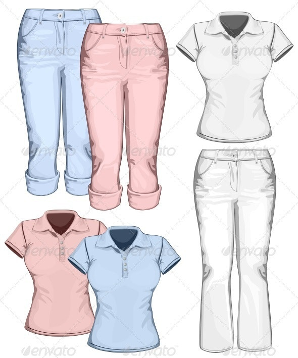 Women's Trouser Jeans and Polo-shirt - Commercial / Shopping Conceptual