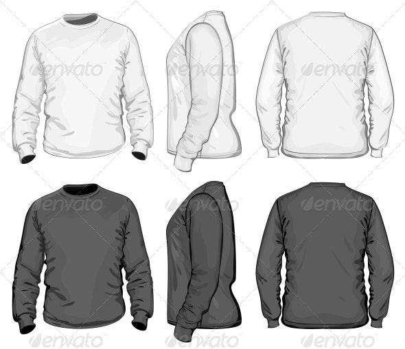 Men's T-shirt Design Template (Long Sleeve) - Commercial / Shopping Conceptual