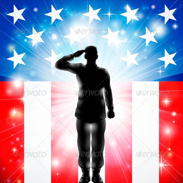 US Flag Military Armed Forces Soldier Silhouette