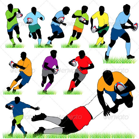 12 Rugby Players Silhouettes Set - Sports/Activity Conceptual
