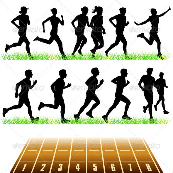 Runners Silhouettes Set - Sports/Activity Conceptual