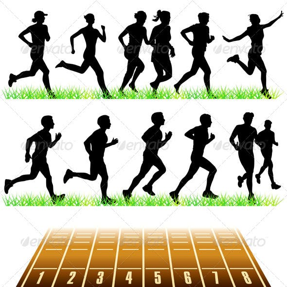 Runners Silhouettes Set