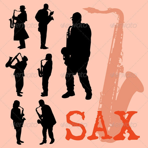 Saxophone Players Silhouettes Set - People Characters