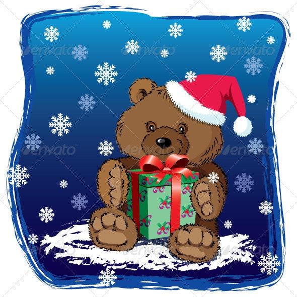 Teddy Bear with Christmas present - Christmas Seasons/Holidays