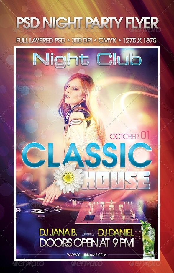 Classic House Night Party PSD Flyer Template - Clubs & Parties Events