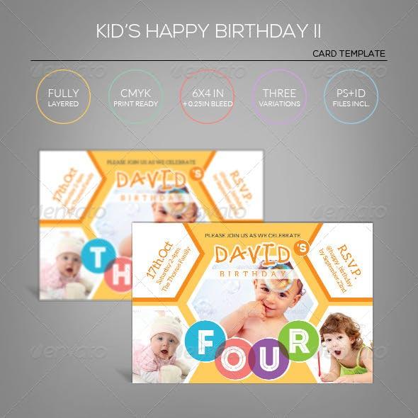 Kid's Happy Birthday Card II - Invitation Template
