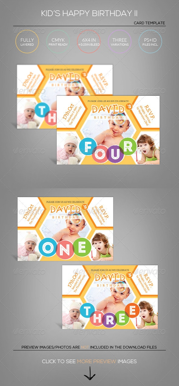 Kid's Happy Birthday Card II - Invitation Template - Birthday Greeting Cards