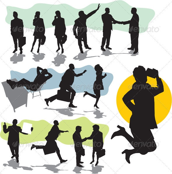 Vector business people silhouette - People Characters