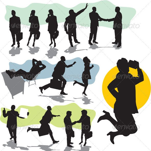 Vector business people silhouette
