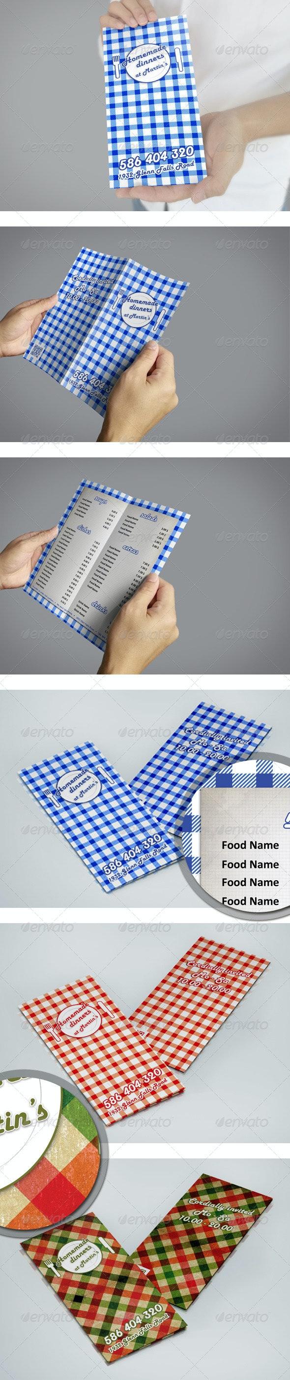 Bi-Fold Homemade Dinners Menu Flyer Template  - Food Menus Print Templates