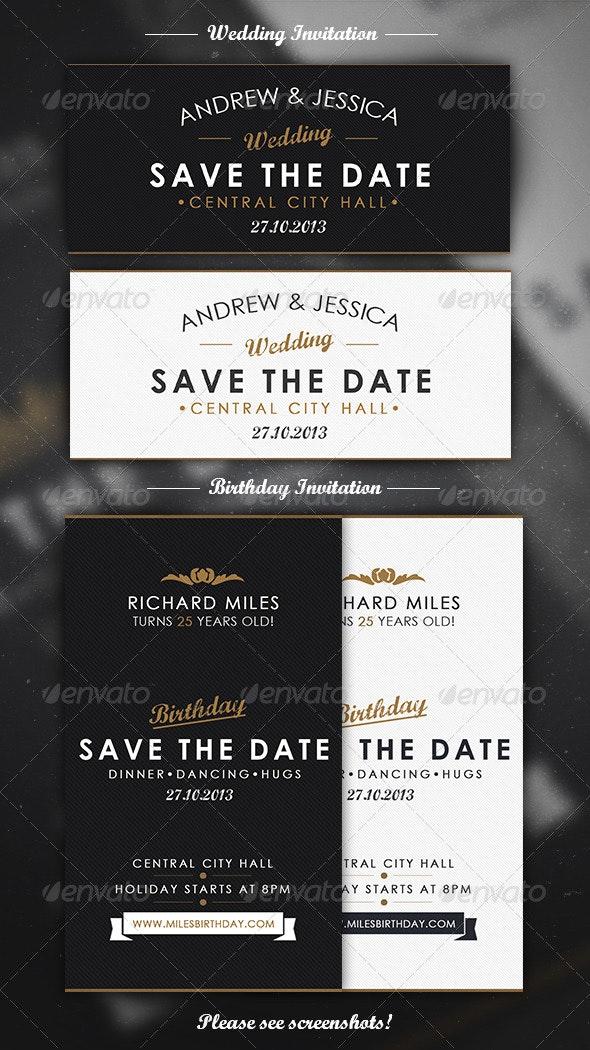 Elegant Invitation Mini Pack - Cards & Invites Print Templates