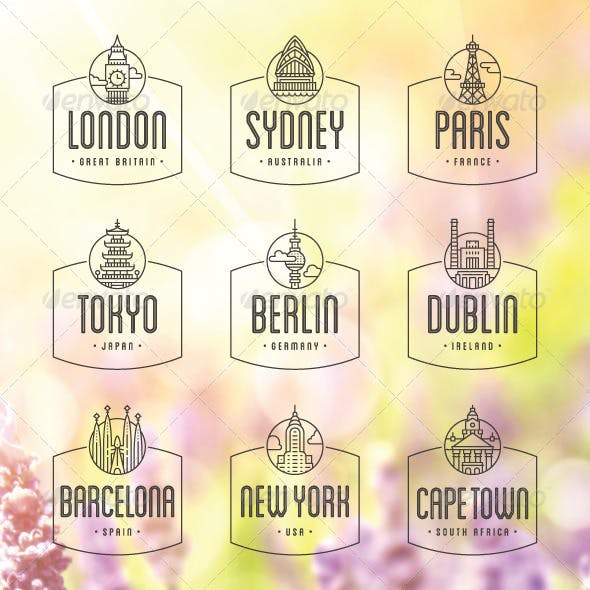 9 International Cities Badges and Stamps