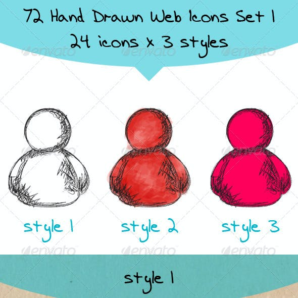 72 Hand Drawn Colored Web Icons
