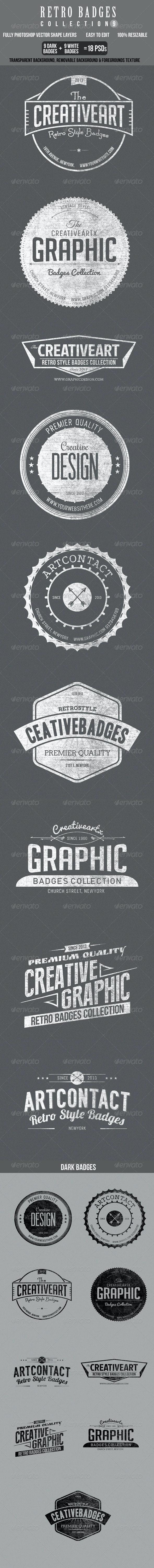 Retro Bagdes col 9 - Badges & Stickers Web Elements