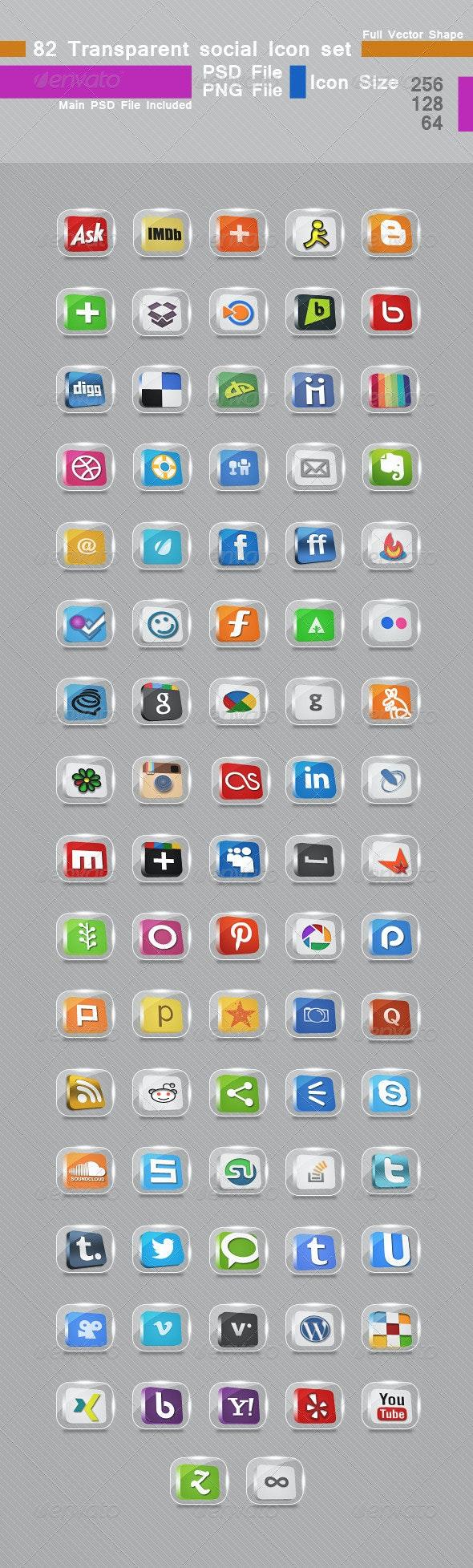 82 Transparent Social Icon set - Media Icons
