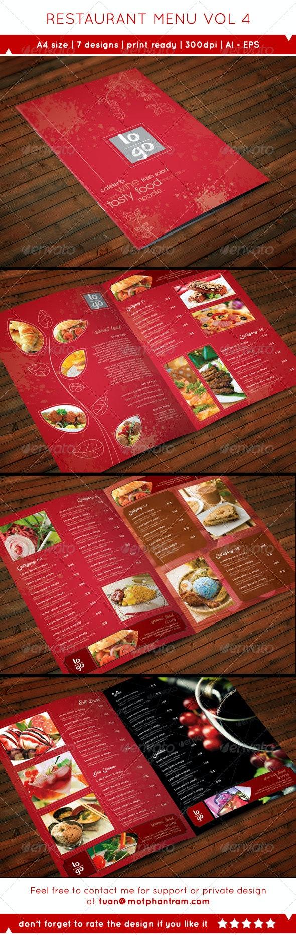 Restaurant Menu Vol 4 - Food Menus Print Templates