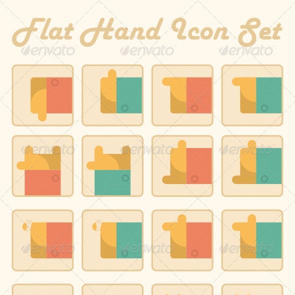 Flat Hand Icon Set