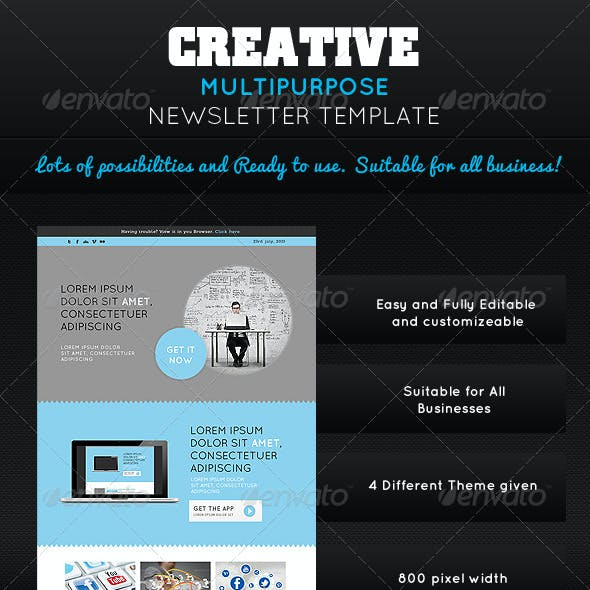 Creative Multipurpose Newsletter PSD Template