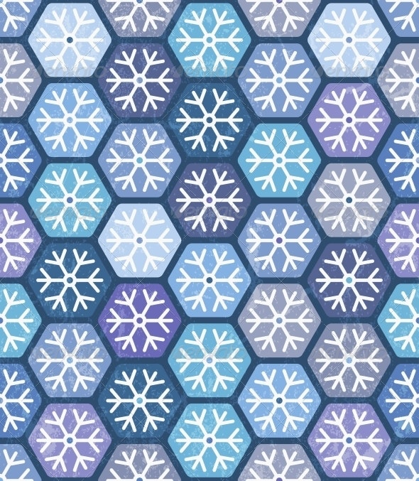 Seamless Geometric Pattern with Snowflakes - Christmas Seasons/Holidays