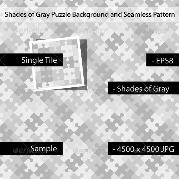 Gray Puzzle Background with Seamless Pattern - Abstract Conceptual