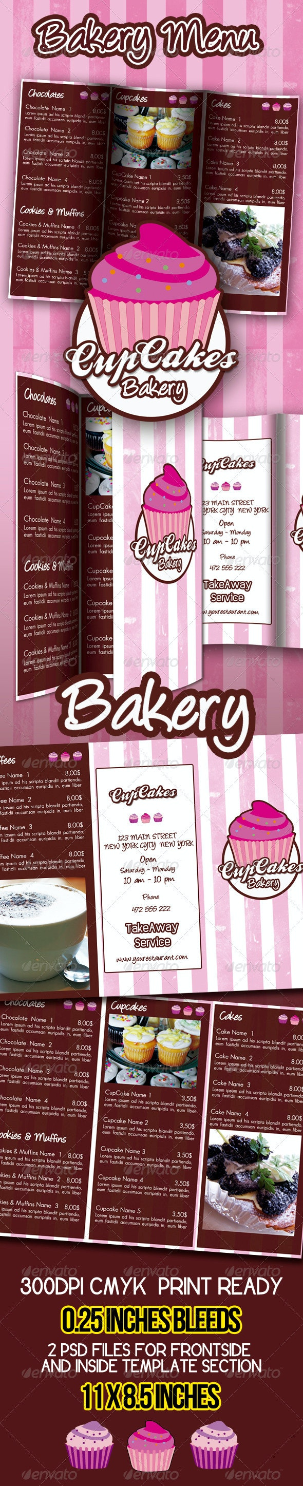 Bakery Menu Template - Food Menus Print Templates