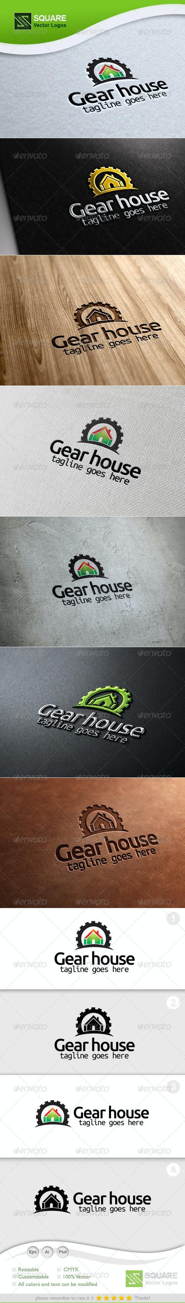 Gear, House Vector Logo Template