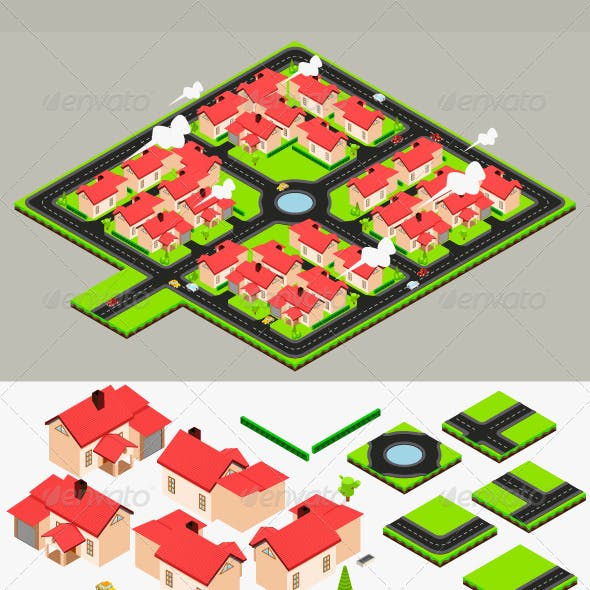 Isometric Cluster House Collection Set