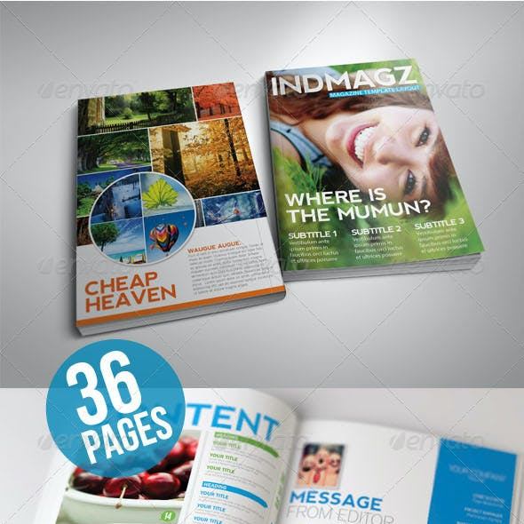 36 Pages Modern & Clean Magazine Templates Vol. 2
