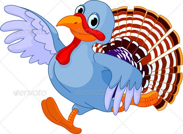 Running Cartoon Turkey - Seasons/Holidays Conceptual