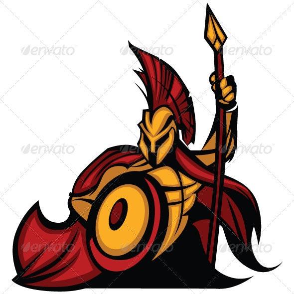 Spartan Trojan Mascot with Spear - Characters Vectors