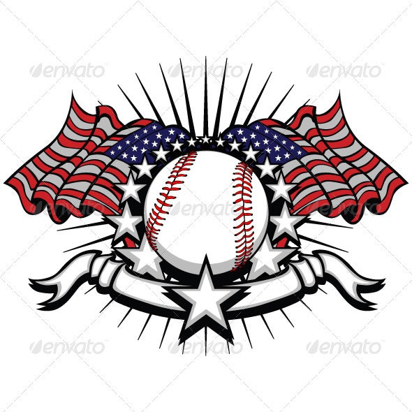 Baseball with Flags and Stars - Sports/Activity Conceptual