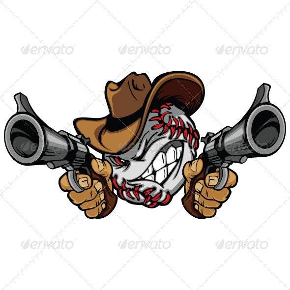 Baseball Shootout Cartoon Cowboy - Sports/Activity Conceptual