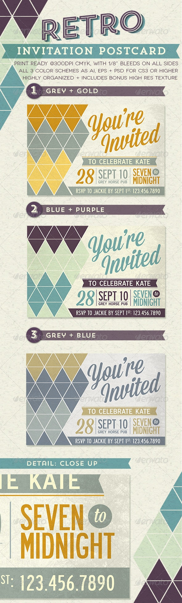 Retro Invitation Postcard - Invitations Cards & Invites