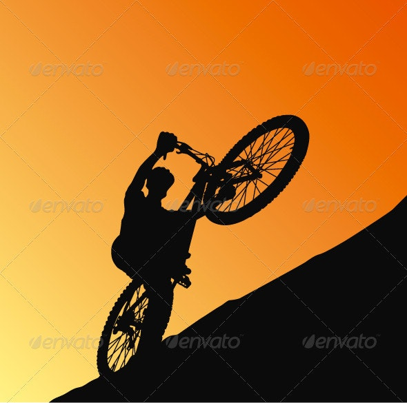 Silhouette Cyclist - Characters Vectors