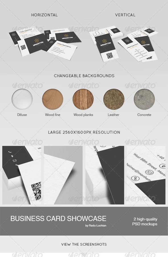 2 Business Card Showcase Mock-ups - Business Cards Print