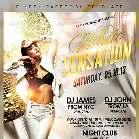 White Sensation Party Flyer + Facebook Timeline