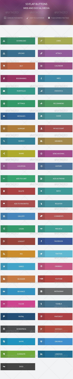53 Flat Buttons ( Web & Social Media ) - Buttons Web Elements