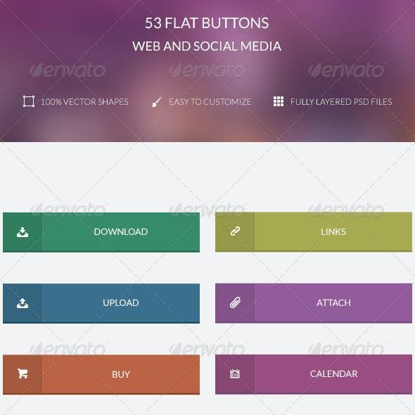 53 Flat Buttons ( Web & Social Media )