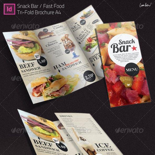 Tri-fold Brochure: Snack Bar Menu
