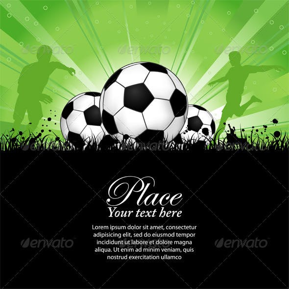 Soccer Players on Grunge Background