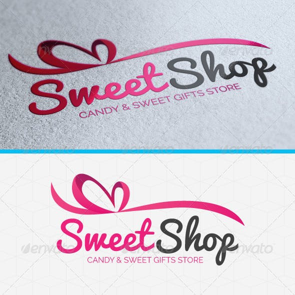 Sweet Shop Heart Logo Template