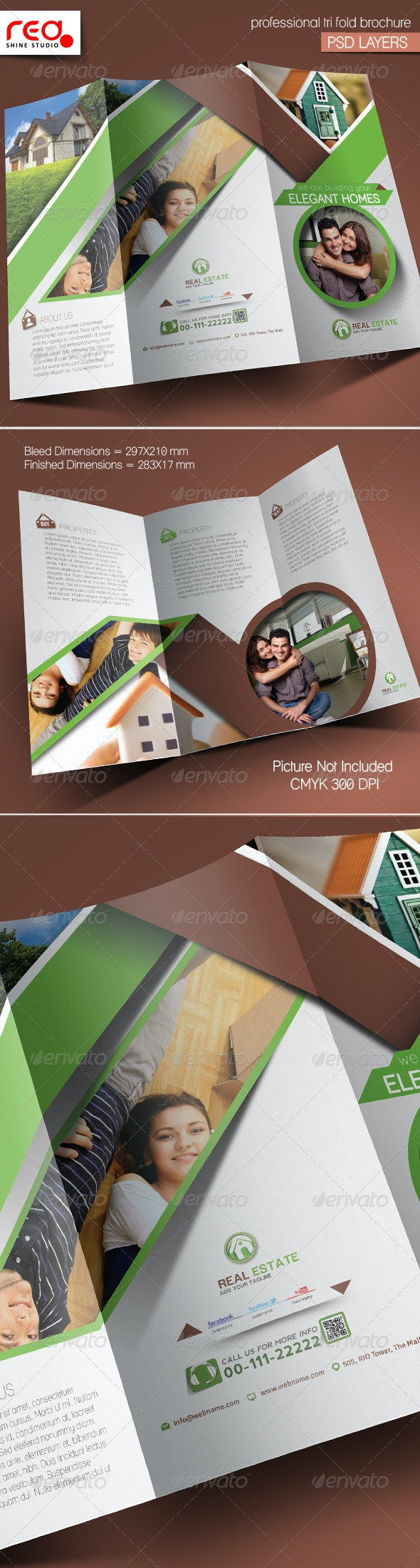 Real Estate Trifold Brochure Template - Corporate Brochures
