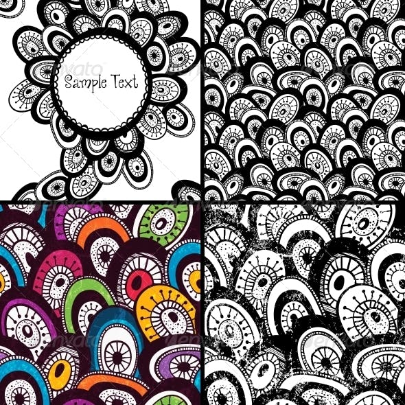 Set of Hand Drawn Backgrounds.